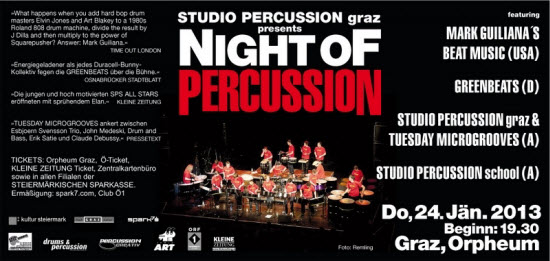 Night of Percussion,Grazer Orpheum,studio percussion graz,musikuniversität,passio,studio percussion school,musikschulen