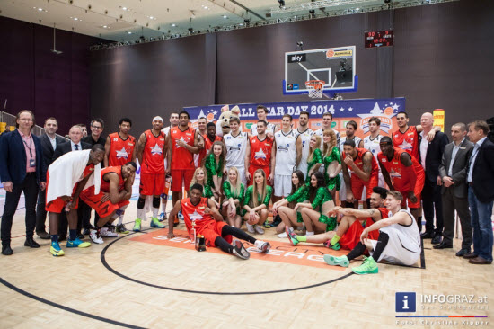all star day 2014,19.2.2014,stadthalle graz,autogrammstunde,siegerehrung,show,court,antenne steiermark under:cover band, zentrum,basketball,spieler,admiral basketball bundesliga